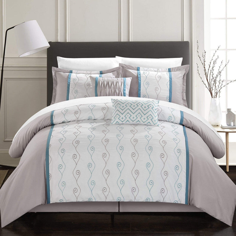 Chic Home Priston 6 Piece Embroidered Comforter Set Color Block Bedding-Grey