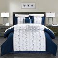Chic Home Priston 6 Piece Embroidered Comforter Set Color Block Bedding-Navy