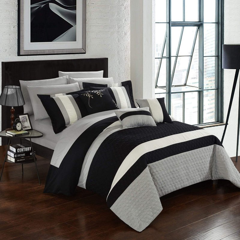 Chic Home Pueblo 10 Piece Embroidered Comforter Set Color Block Octagon Pattern Bed in a Bag-