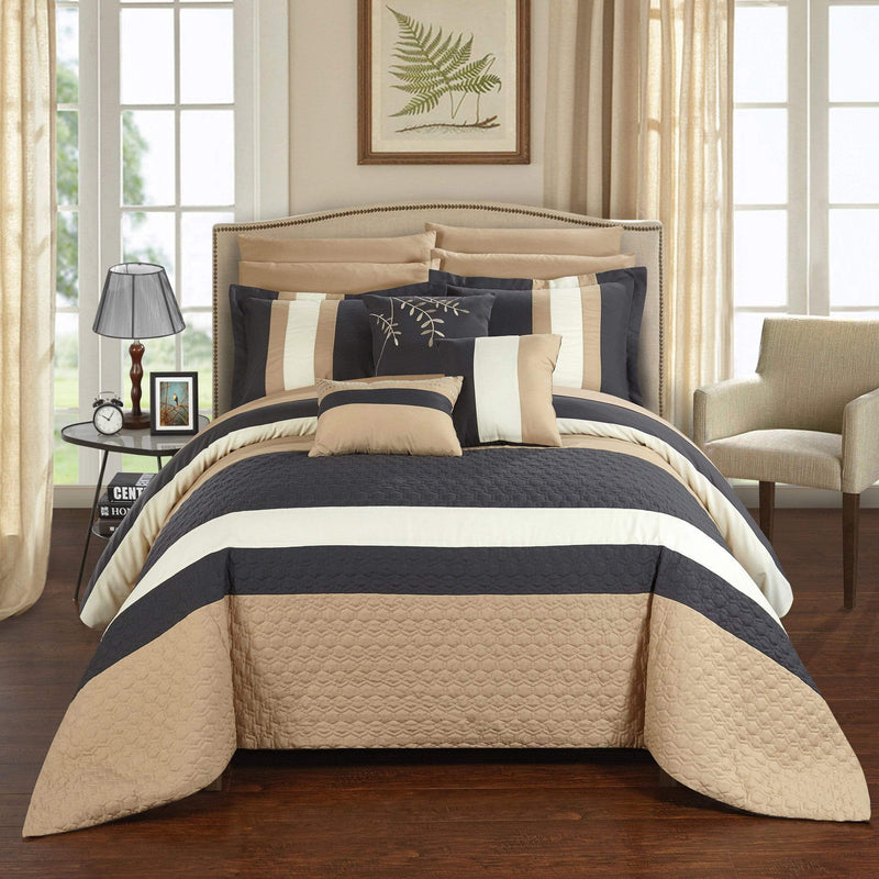 Chic Home Pueblo 10 Piece Embroidered Comforter Set Color Block Octagon Pattern Bed in a Bag-Grey