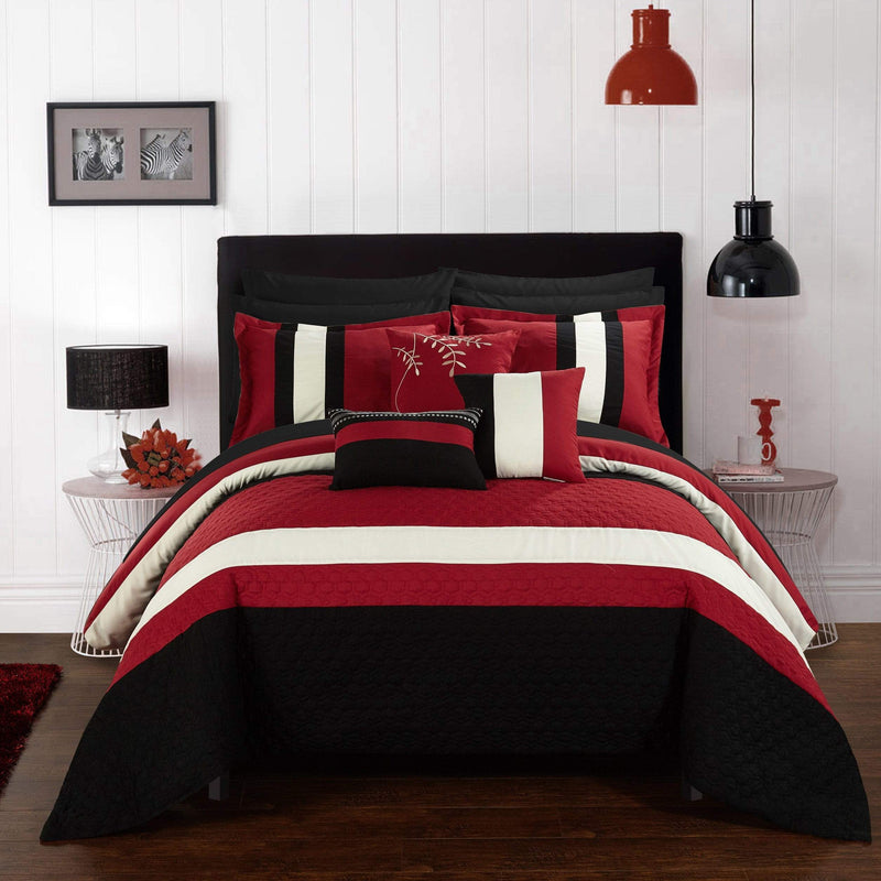 Chic Home Pueblo 10 Piece Embroidered Comforter Set Color Block Octagon Pattern Bed in a Bag-Red
