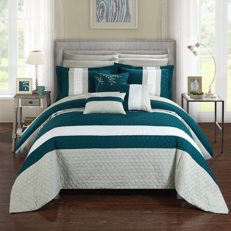 Chic Home Pueblo 10 Piece Embroidered Comforter Set Color Block Octagon Pattern Bed in a Bag-Teal