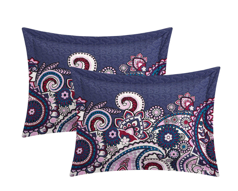 Chic Home Reims 4 Piece Quilt Cover Set Reversible Boho Paisley Geometric Print Bedding Blue