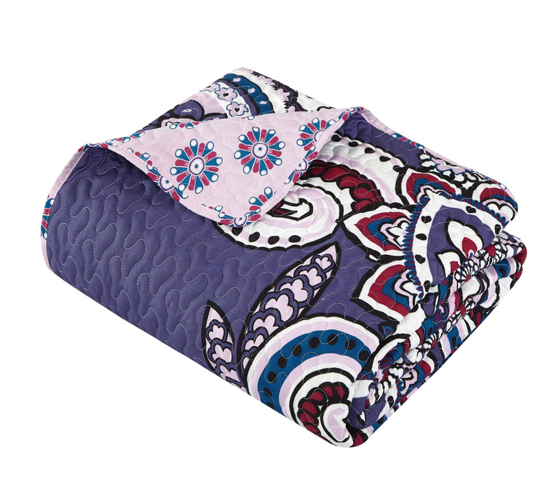 Chic Home Reims 8 Piece Quilt Cover Set Reversible Boho Paisley Geometric Print Bed in a Bag Blue