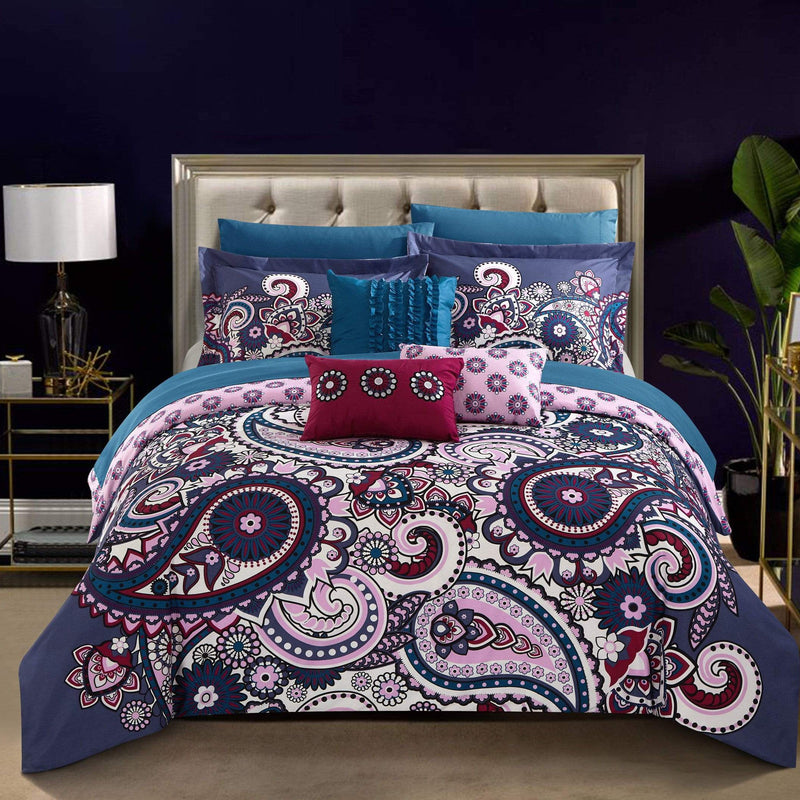 Chic Home Remsen 10 Piece Reversible Comforter Set Boho Paisley Geometric Print Bed in a Bag Blue