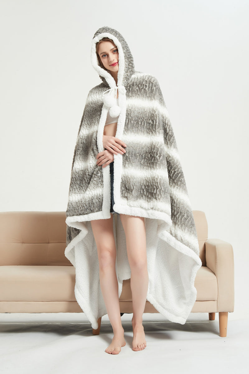 Chic Home Shadow Snuggle Hoodie Animal Pattern Robe Plush Micromink Sherpa Wearable Blanket