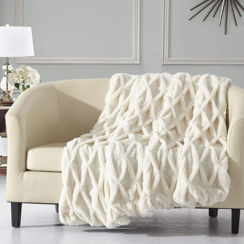 Chic Home Shifra Ultra Plush Pinch Pleat Shaggy Faux Fur Micromink Throw Blanket Beige-TB4158-CHB