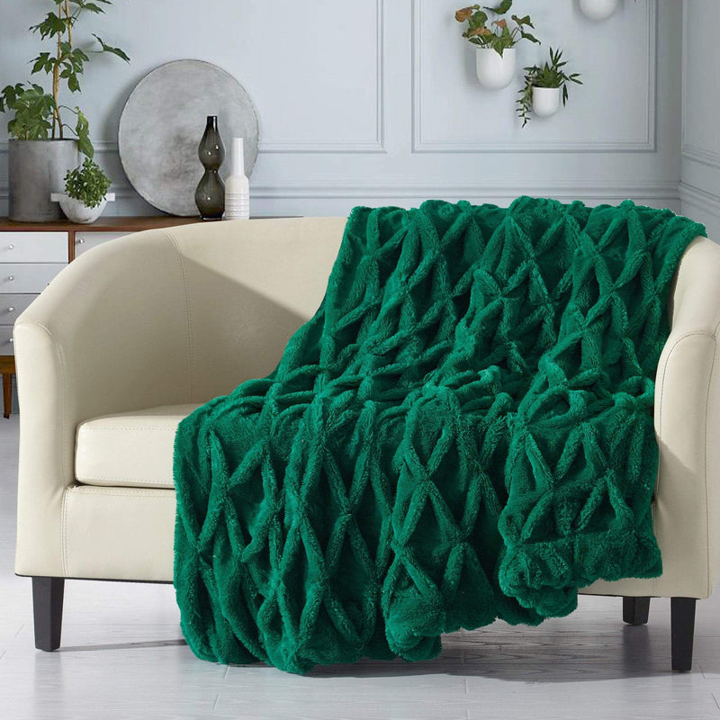 Chic Home Shifra Ultra Plush Pinch Pleat Shaggy Faux Fur Micromink Throw Blanket Green-TB4159-CHB