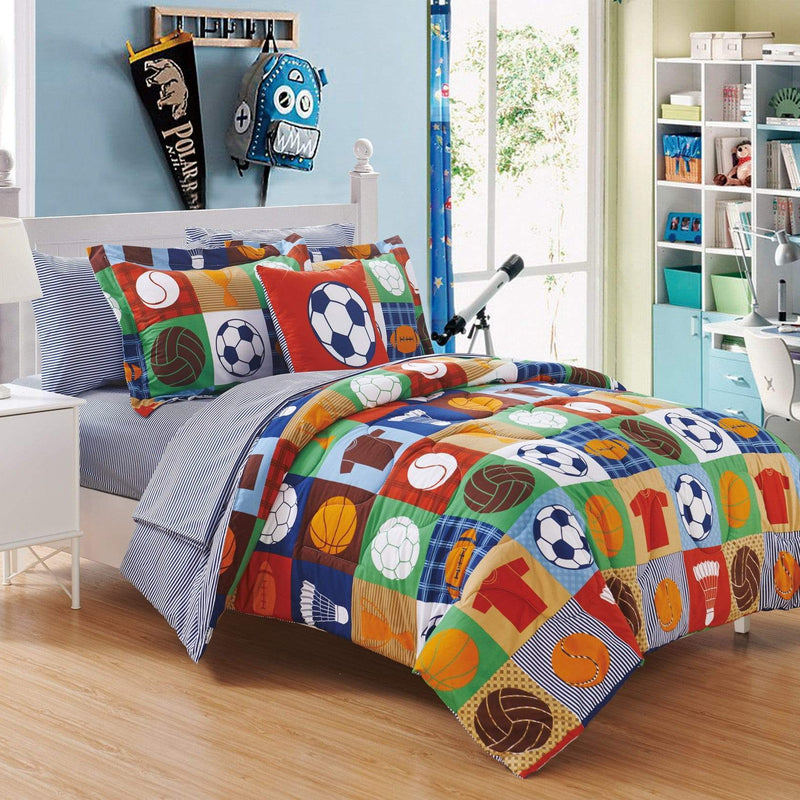 Chic Home Shiloh 8 Piece Reversible Youth Comforter Set Patchwork Print Athletic Bed in a Bag