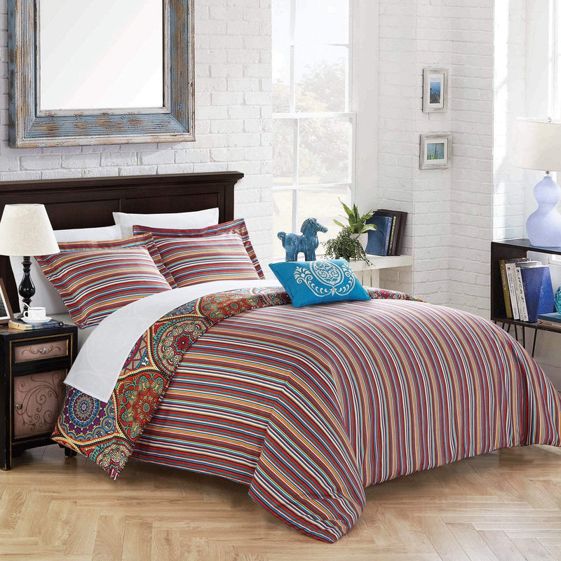 Chic Home Shulamit 4 Piece Duvet Cover Set Reversible Paisley Print Striped Pattern Bedding Red