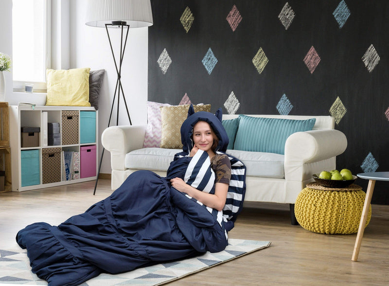 Chic Home Skai Sleeping Bag with Hood Ruched Ruffled Design Striped Interior Zipper Closure Navy-BBG17956-CHB