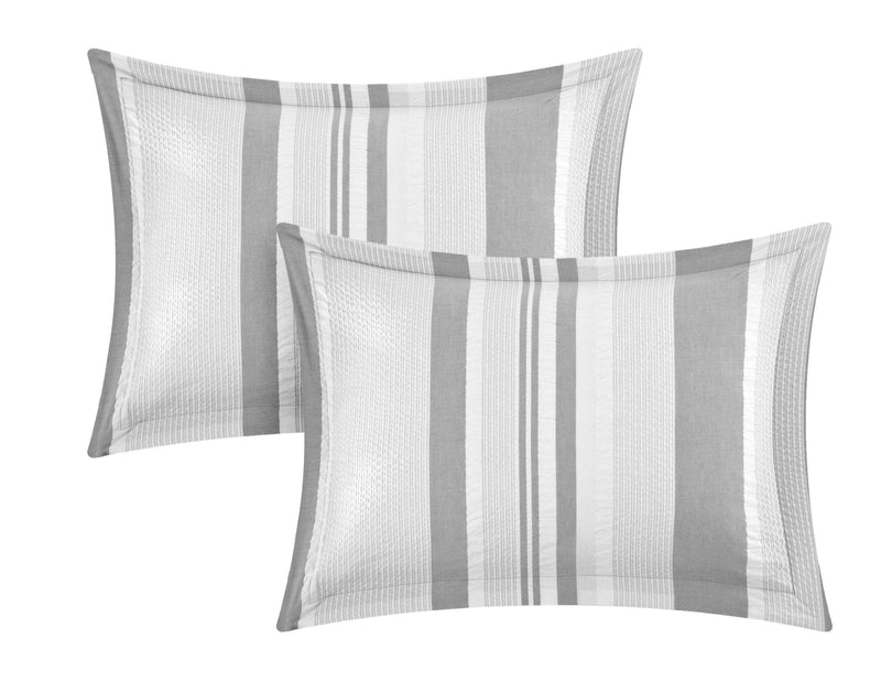 Chic Home Somerset 4 Piece 100% Cotton Duvet Cover Set Seersucker Striped Ruffled Bedding-