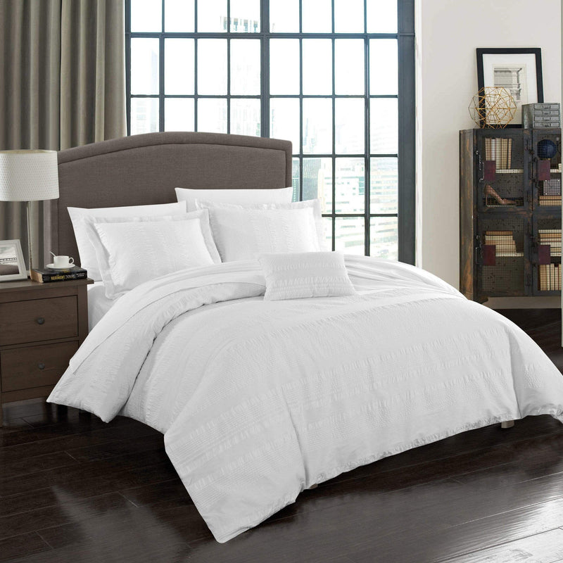 Chic Home Somerset 4 Piece 100% Cotton Duvet Cover Set Seersucker Striped Ruffled Bedding-White