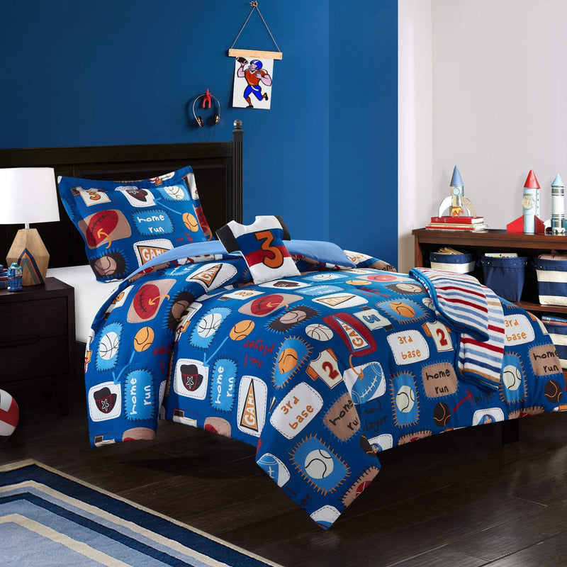 Chic Home Sport Camp 5 Piece Youth Comforter Set Star Athlete Theme Bedding