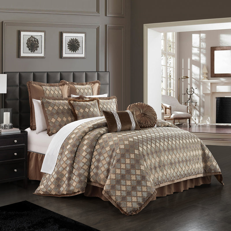 Chic Home Sue 9 Piece Comforter Set Chenille Geometric Scroll Pattern Flange Border Bedding-