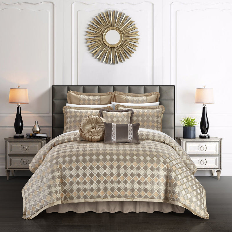 Chic Home Sue 9 Piece Comforter Set Chenille Geometric Scroll Pattern Flange Border Bedding-Beige