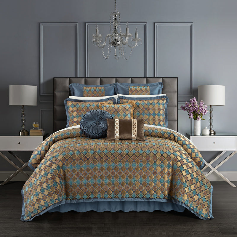 Chic Home Sue 9 Piece Comforter Set Chenille Geometric Scroll Pattern Flange Border Bedding-Blue