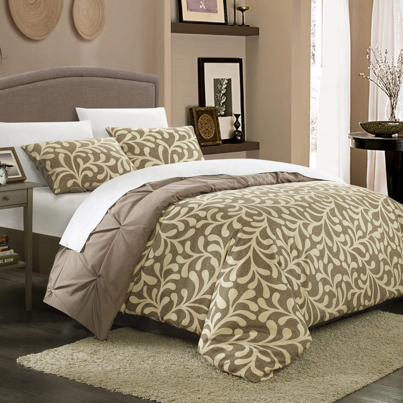 Chic Home Talia 3 Piece Duvet Cover Set Reversible Pinch Pleat Pintuck Print Bedding-
