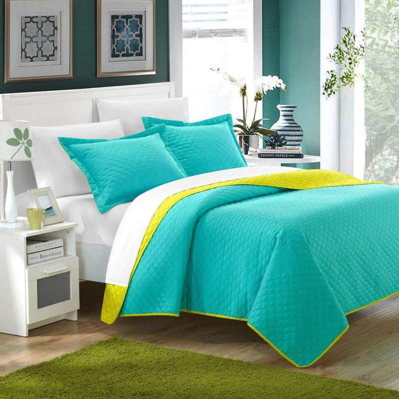 Chic Home Teresa Leona Lugano Ressa Jasper Jessica 7 Piece Quilt Set Reversible Embossed Design Bed in a Bag Aqua