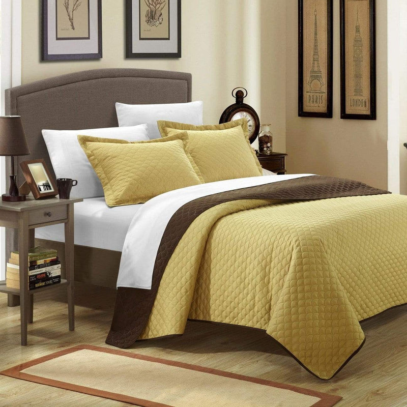 Chic Home Teresa Leona Lugano Ressa Jasper Jessica 7 Piece Quilt Set Reversible Embossed Design Bed in a Bag Gold