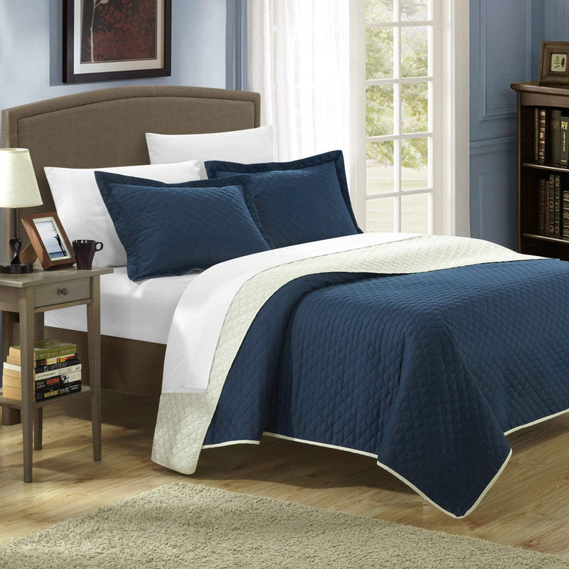 Chic Home Teresa Leona Lugano Ressa Jasper Jessica 7 Piece Quilt Set Reversible Embossed Design Bed in a Bag Navy