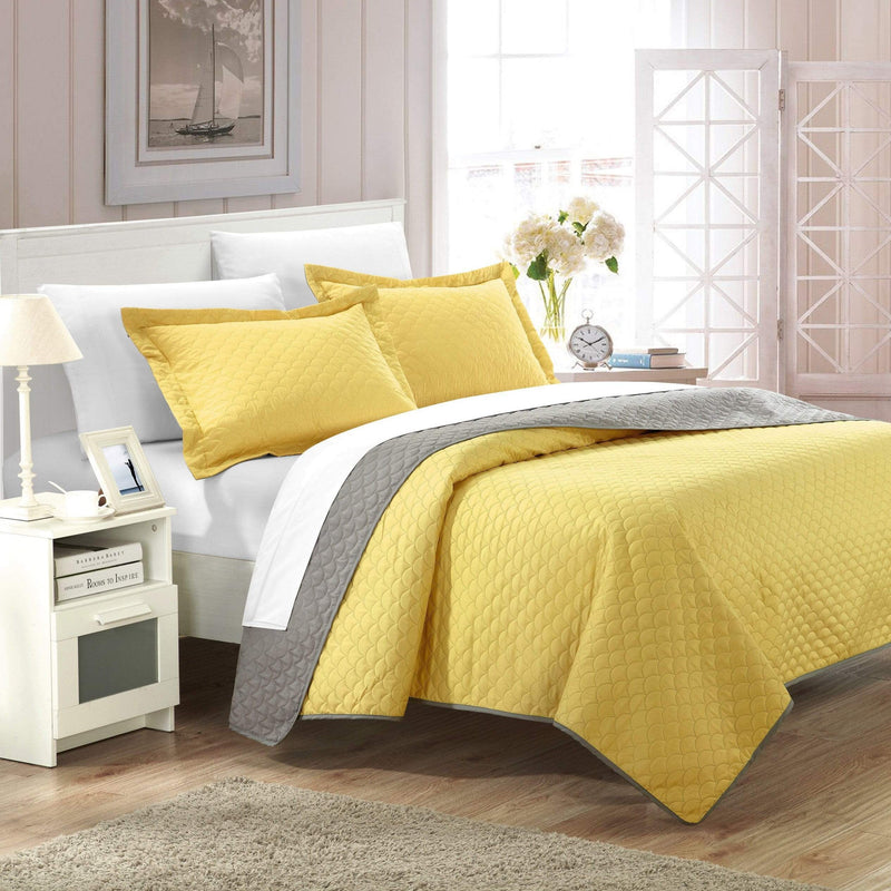 Chic Home Teresa Leona Lugano Ressa Jasper Jessica 7 Piece Quilt Set Reversible Embossed Design Bed in a Bag Yellow