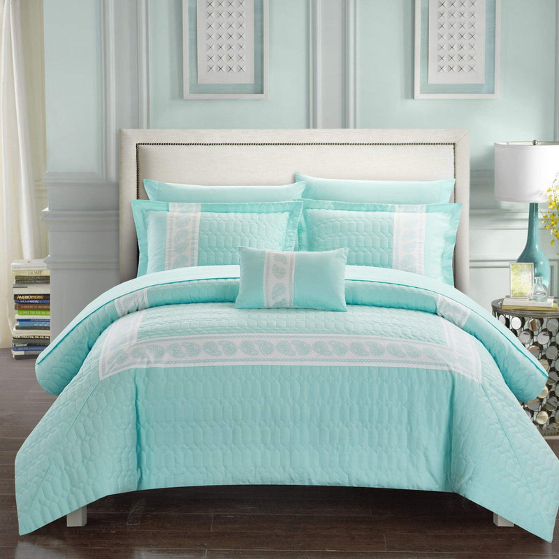 Chic Home Titian 8 Piece Hotel Collection Comforter Set Embossed Paisley Print Bed in a Bag-Aqua