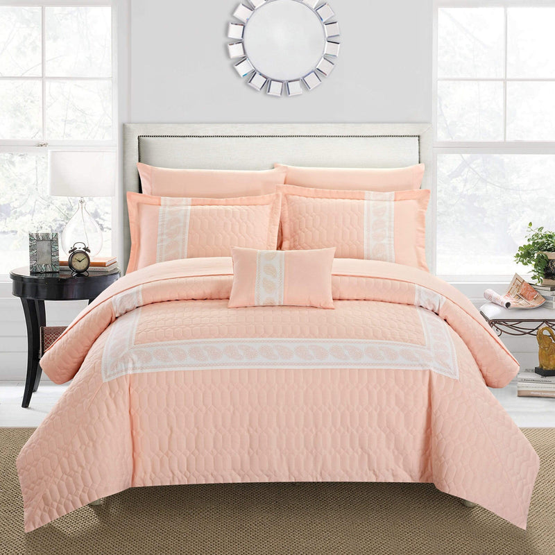 Chic Home Titian 8 Piece Hotel Collection Comforter Set Embossed Paisley Print Bed in a Bag-Blush