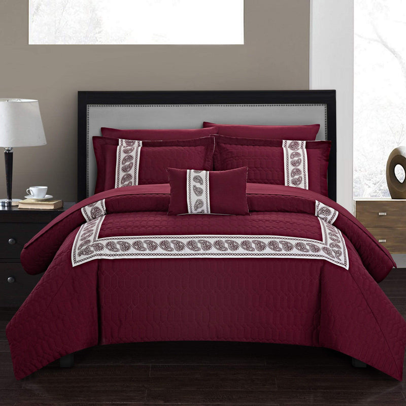 Chic Home Titian 8 Piece Hotel Collection Comforter Set Embossed Paisley Print Bed in a Bag-Burgundy