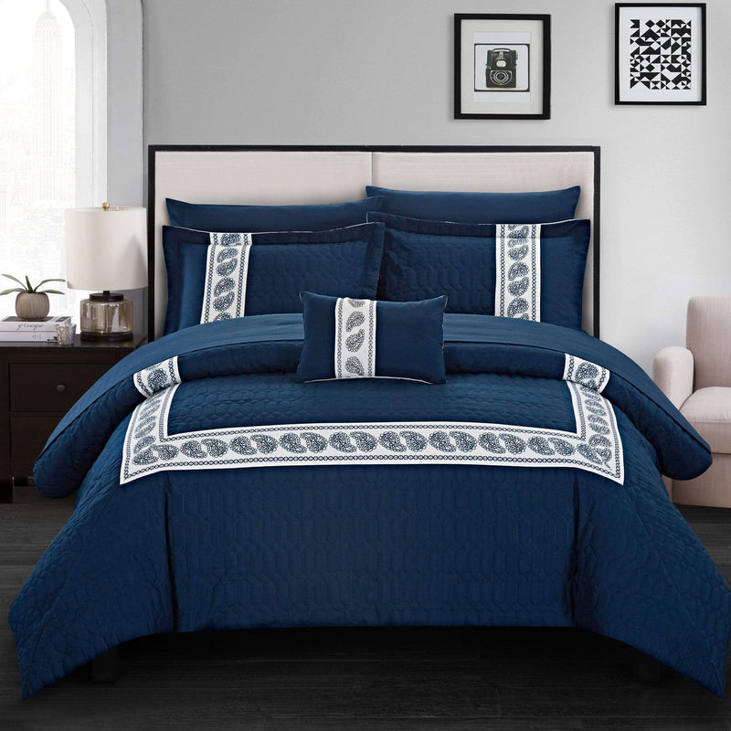 Chic Home Titian 8 Piece Hotel Collection Comforter Set Embossed Paisley Print Bed in a Bag-Navy