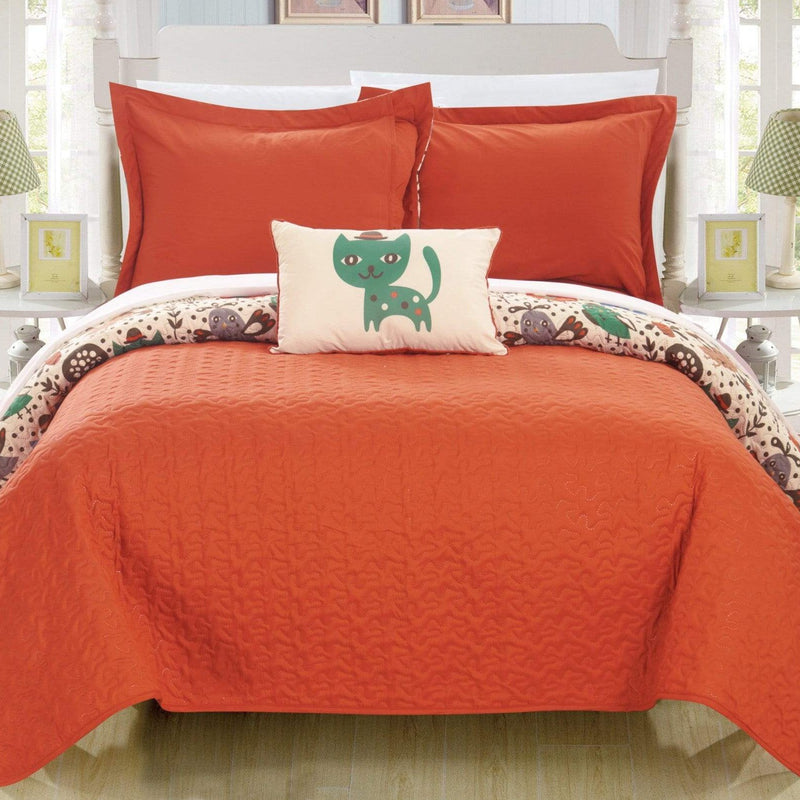 Chic Home Trixie 4 Piece Reversible Quilt Set Cute Animal Friends Print Youth Design Bedding-