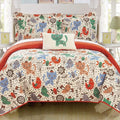 Chic Home Trixie Wingfield Pilkington Wymper Orwell Karl 4 Piece Reversible Quilt Set Cute Animal Friends Print Youth Design Bedding Orange