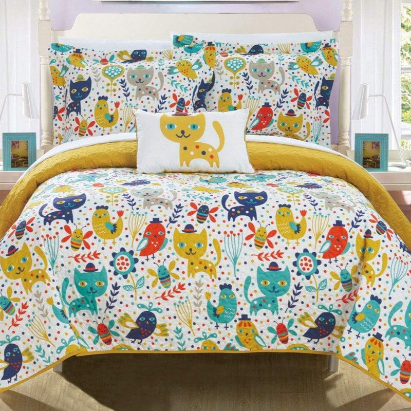 Chic Home Trixie Wingfield Pilkington Wymper Orwell Karl 4 Piece Reversible Quilt Set Cute Animal Friends Print Youth Design Bedding Yellow
