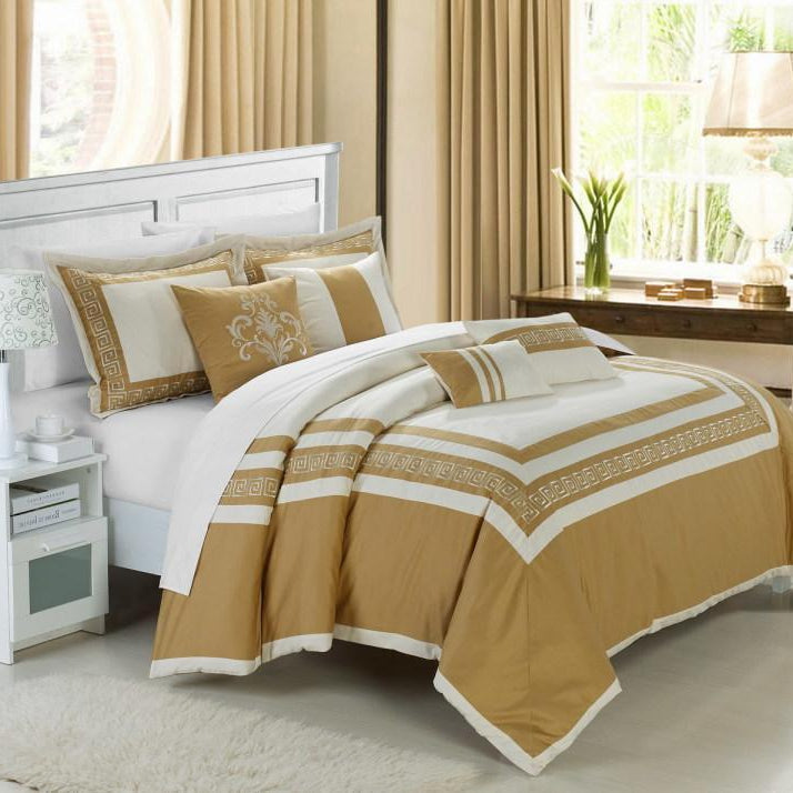 Chic Home Venice 7 Piece Cotton Comforter Set Hotel Collection Embroidery Design Bedding-Beige