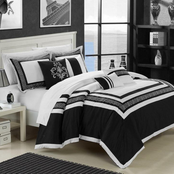 Chic Home Venice 7 Piece Cotton Comforter Set Hotel Collection Embroidery Design Bedding-Black