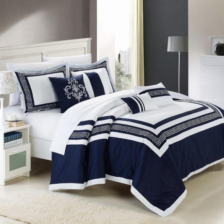 Chic Home Venice 7 Piece Cotton Comforter Set Hotel Collection Embroidery Design Bedding-Blue