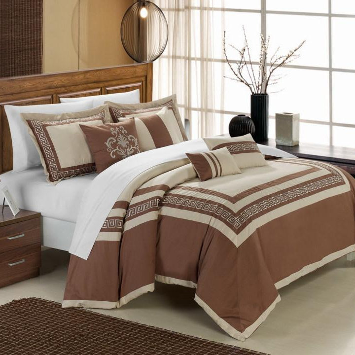 Chic Home Venice 7 Piece Cotton Comforter Set Hotel Collection Embroidery Design Bedding-Taupe