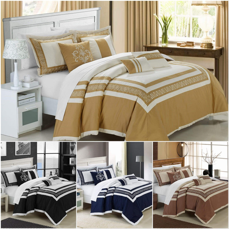 Chic Home Venice 7 Piece Cotton Comforter Set Hotel Collection Embroidery Design Bedding-