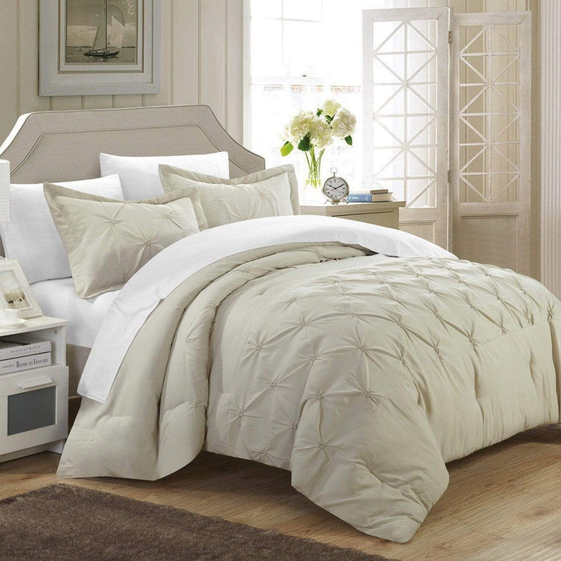 Chic Home Veronica 7 Piece Duvet Cover Set Pinch Pleat Pintuck Color Block Bed in a Bag-Beige