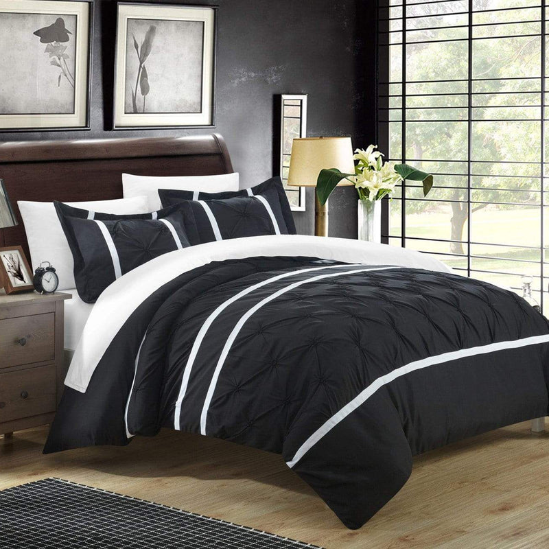Chic Home Veronica 7 Piece Duvet Cover Set Pinch Pleat Pintuck Color Block Bed in a Bag-Black