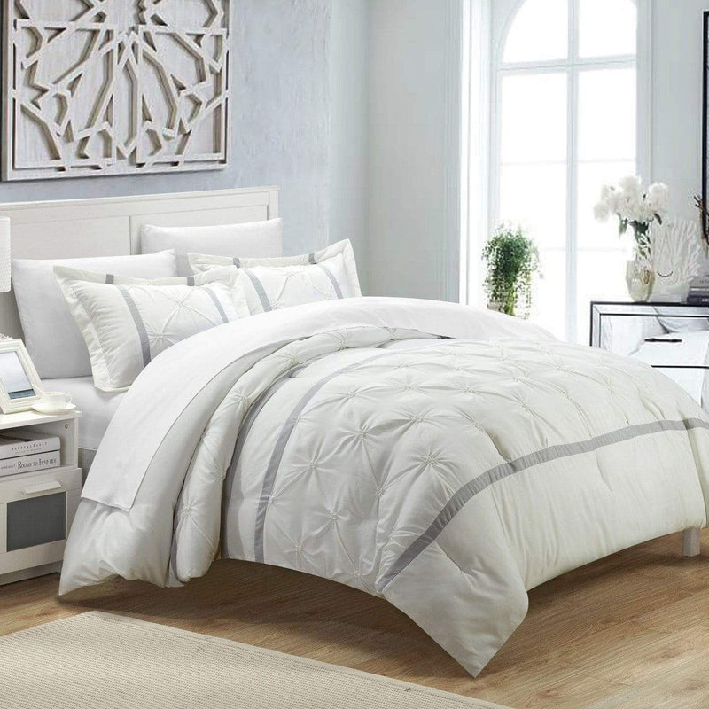 Chic Home Veronica 7 Piece Duvet Cover Set Pinch Pleat Pintuck Color Block Bed in a Bag-White