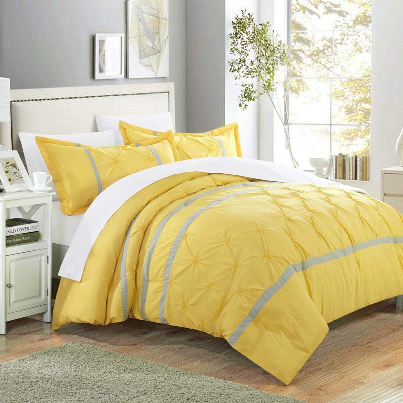 Chic Home Veronica 7 Piece Duvet Cover Set Pinch Pleat Pintuck Color Block Bed in a Bag-Yellow