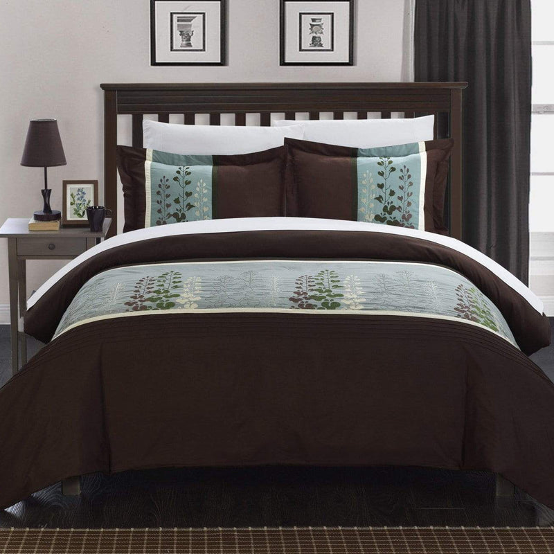 Chic Home Victoria 3 Piece Duvet Cover Set Floral Embroidered Design Bedding-Brown