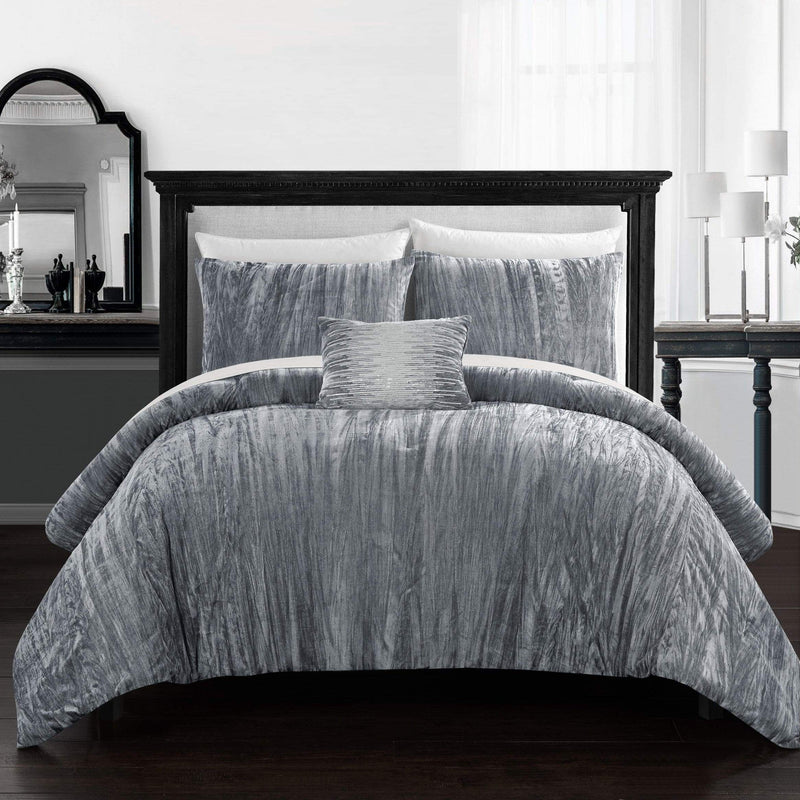 Chic Home Westmont 8 Piece Crinkle Crushed Velvet Comforter Set Bed in a Bag-Grey