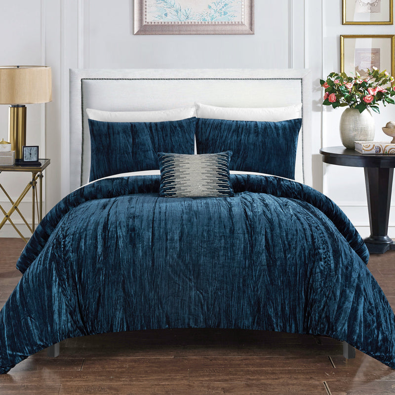 Chic Home Westmont 8 Piece Crinkle Crushed Velvet Comforter Set Bed in a Bag-Navy