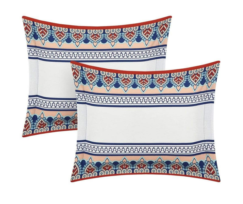 Chic Home Weston 4 Piece 100% Cotton Duvet Cover Set Reversible Bohemian Inspired Print Bedding Blue