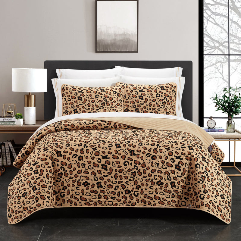 Chic Home Wild Cheeta Bengal Abyssinian Serengeti Toyger Ocicat 9 Piece Quilt Set Cheetah Animal Print Bedding