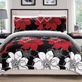 Chic Home Woodside Woodhaven Miles Chase Capiz Freesia 3 Piece Quilt Set Reversible Large Scale Floral Print Bedding Black