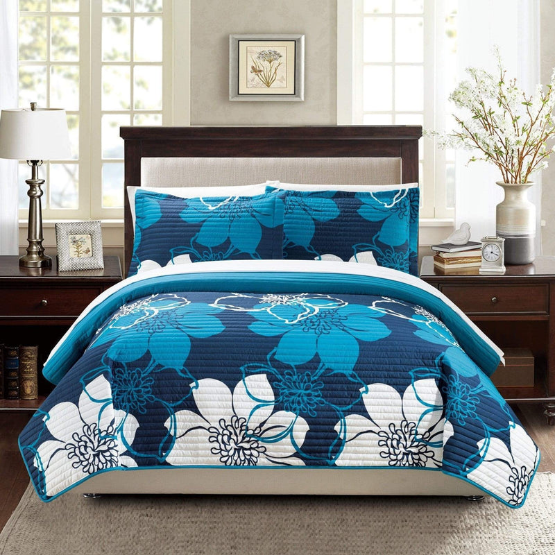 Chic Home Woodside Woodhaven Miles Chase Capiz Freesia 3 Piece Quilt Set Reversible Large Scale Floral Print Bedding Blue