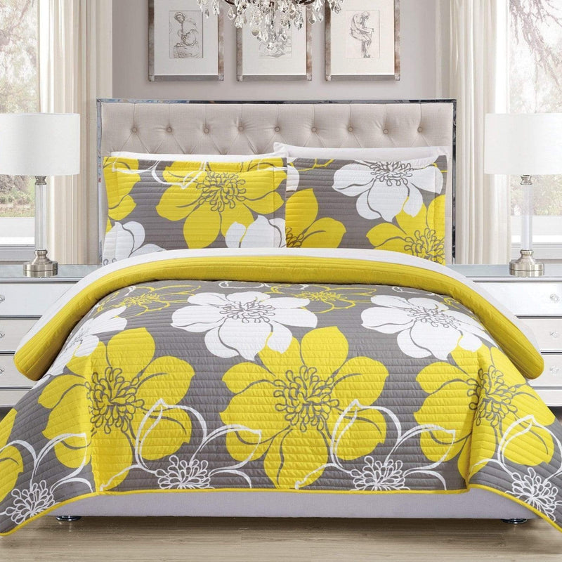 Chic Home Woodside Woodhaven Miles Chase Capiz Freesia 3 Piece Quilt Set Reversible Large Scale Floral Print Bedding Yellow